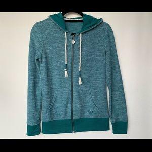 XS, Roxy, dark teal, nautical zip-up hoodie